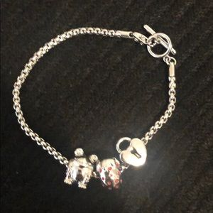 Pandora Toggle Bracelet with 3 Charms